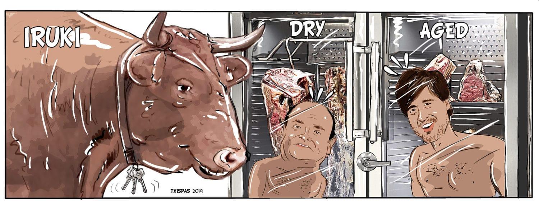 Jose Luis Etxarri y Borja Zubiaurre haciendose DryAged por el Buey
